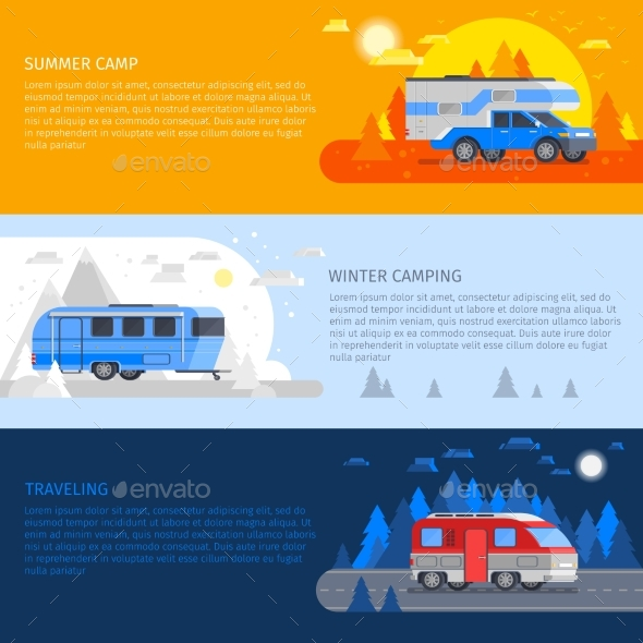 Recreational Vehicles Banner Set - Conceptual Vectors