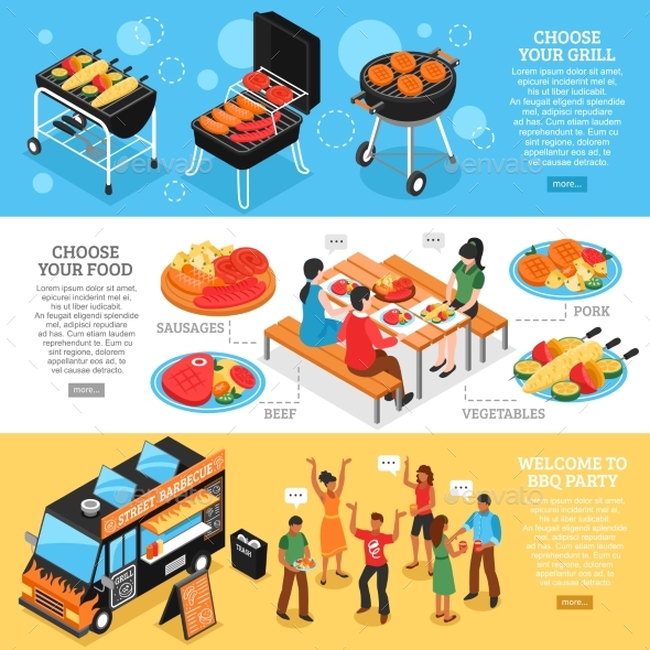 Barbecue 3d Isometric Banners Set - Food Objects
