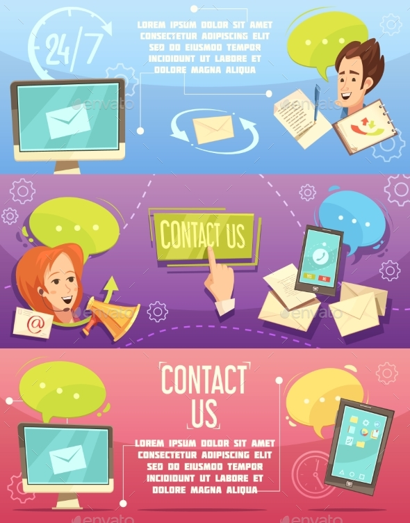 Contact Us Retro Cartoon Banners Set - Business Conceptual