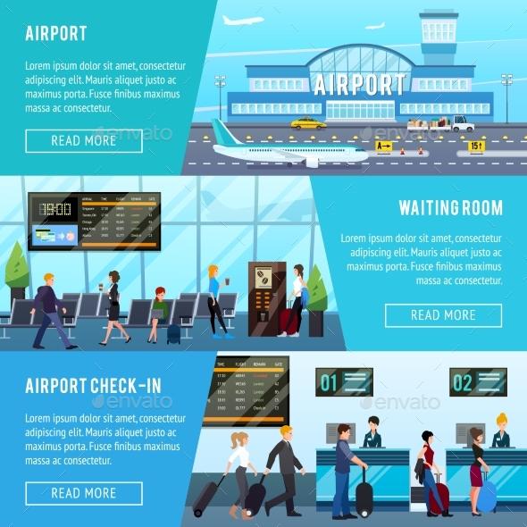 Airport Horizontal Banners Set - Conceptual Vectors
