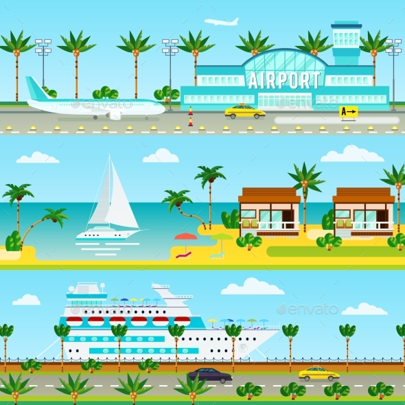 Summer Cruise Vacation Banners - Conceptual Vectors