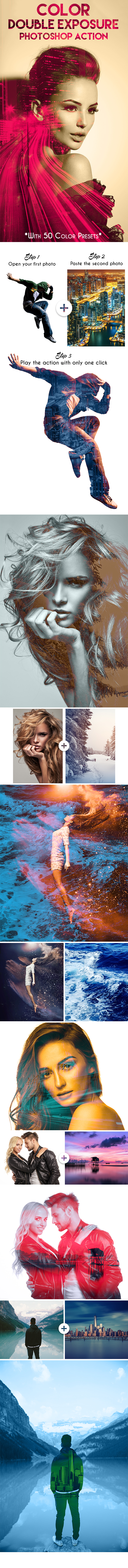 Color Double Exposure Photoshop Action - Photo Effects Actions