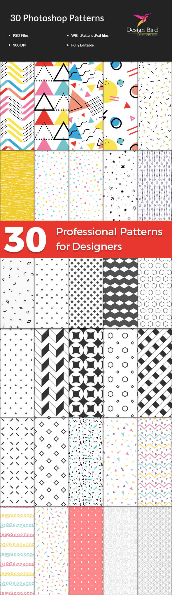 30 Professional Photoshop Patterns - Textures / Fills / Patterns Photoshop