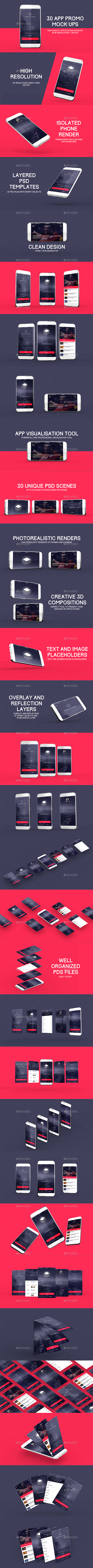 30 App Promo Mock Ups Pack - Product Mock-Ups Graphics