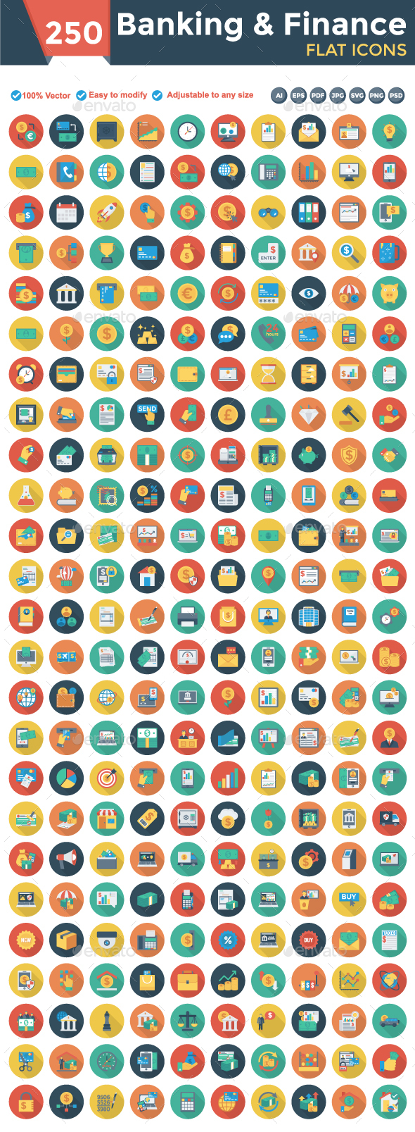 Banking and Finance Flat Circle Icons - Business Icons