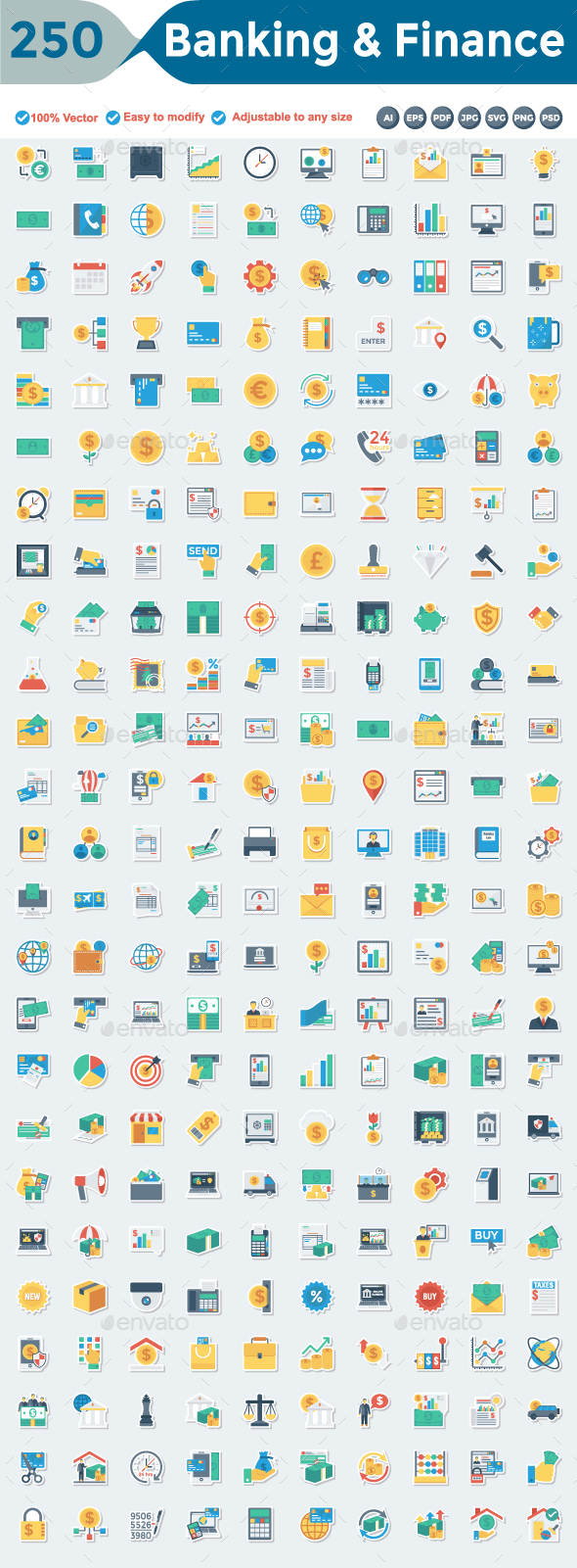 Banking and Finance Flat Paper Icons - Business Icons