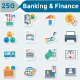 Banking and Finance Flat Paper Icons