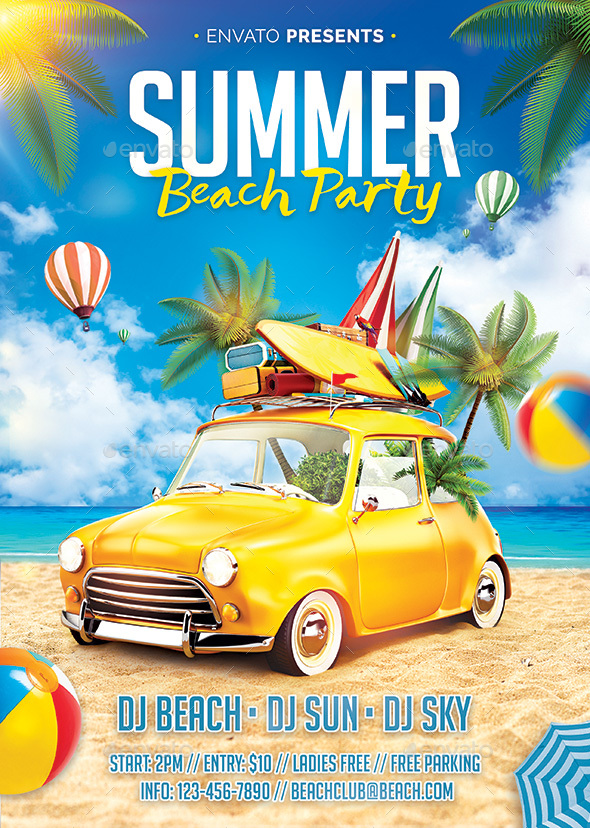 Summer Beach Flyer - Clubs & Parties Events