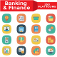 Banking and Finance Flat Square Icons - GraphicRiver Item for Sale
