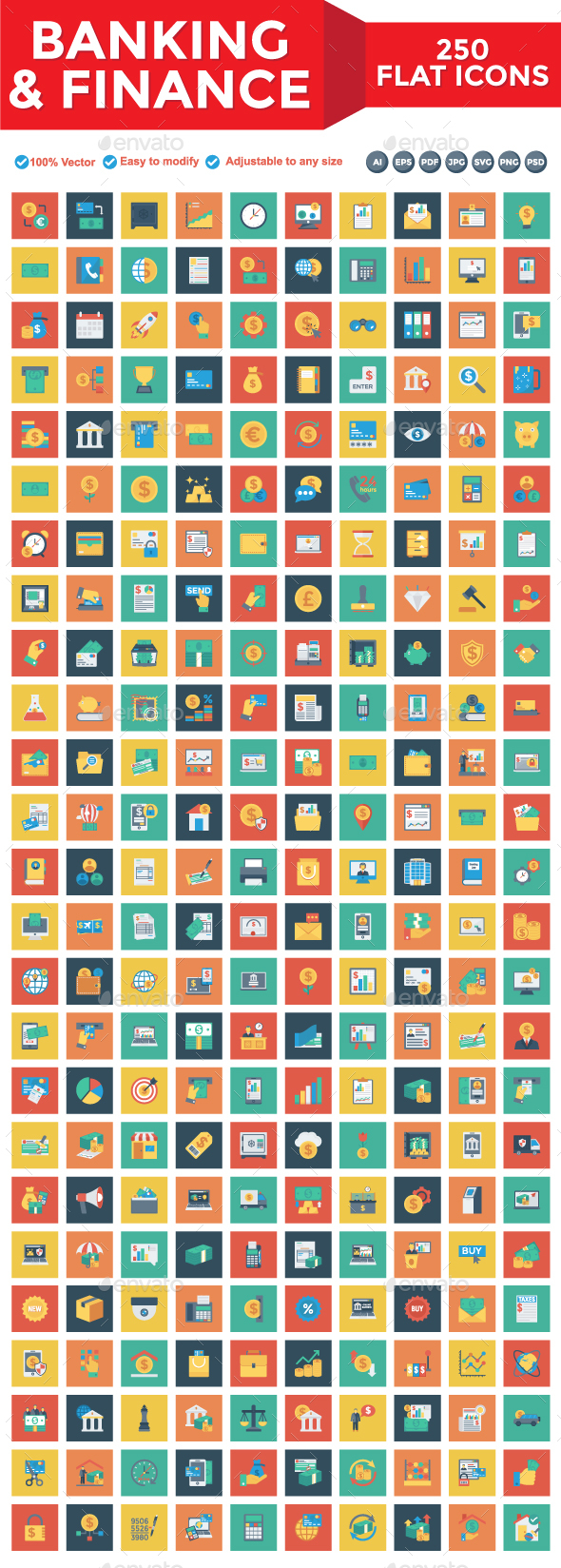 Banking and Finance Square Icons - Business Icons