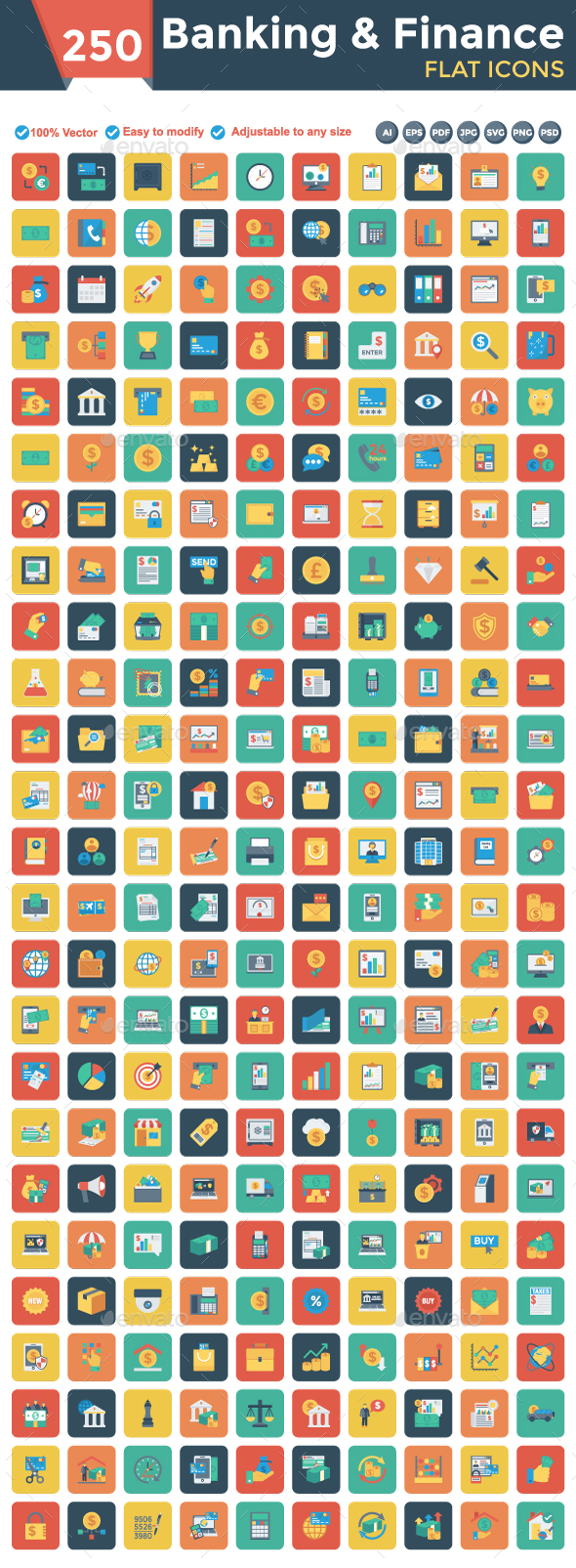 Banking and Finance Square Rounded Icons - Business Icons