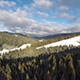 Drone Flying Over Mountains Ski Resort