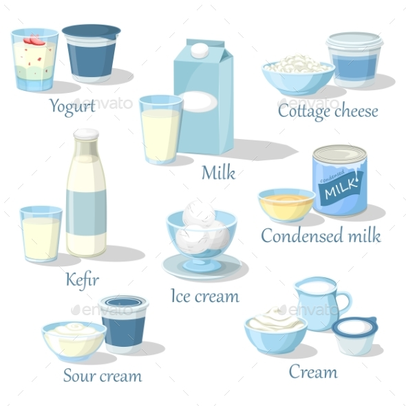 Yogurt and Kefir, Cottage Cheese and Ice Cream - Food Objects