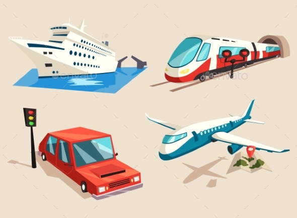 Airplane and Train, Car or Automobile and Train - Travel Conceptual