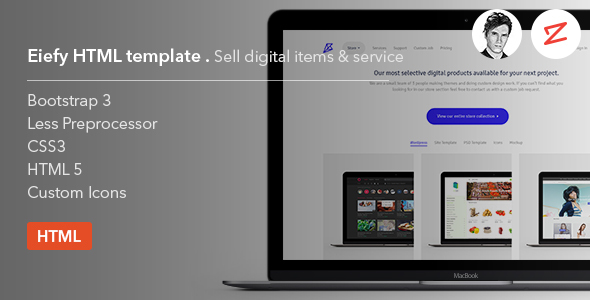 Eiefy: HTML Template for Selling Digital Items & Services - Business Corporate