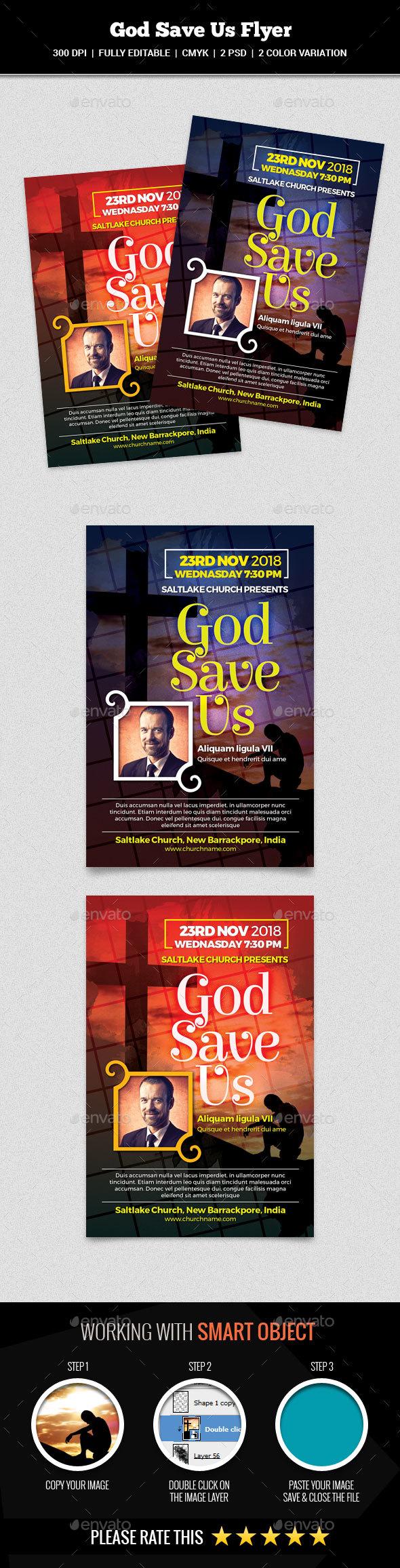 God Save Us Flyer - Church Flyers