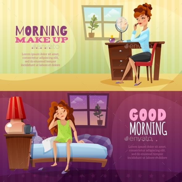 Good Morning Horizontal Banners - People Characters
