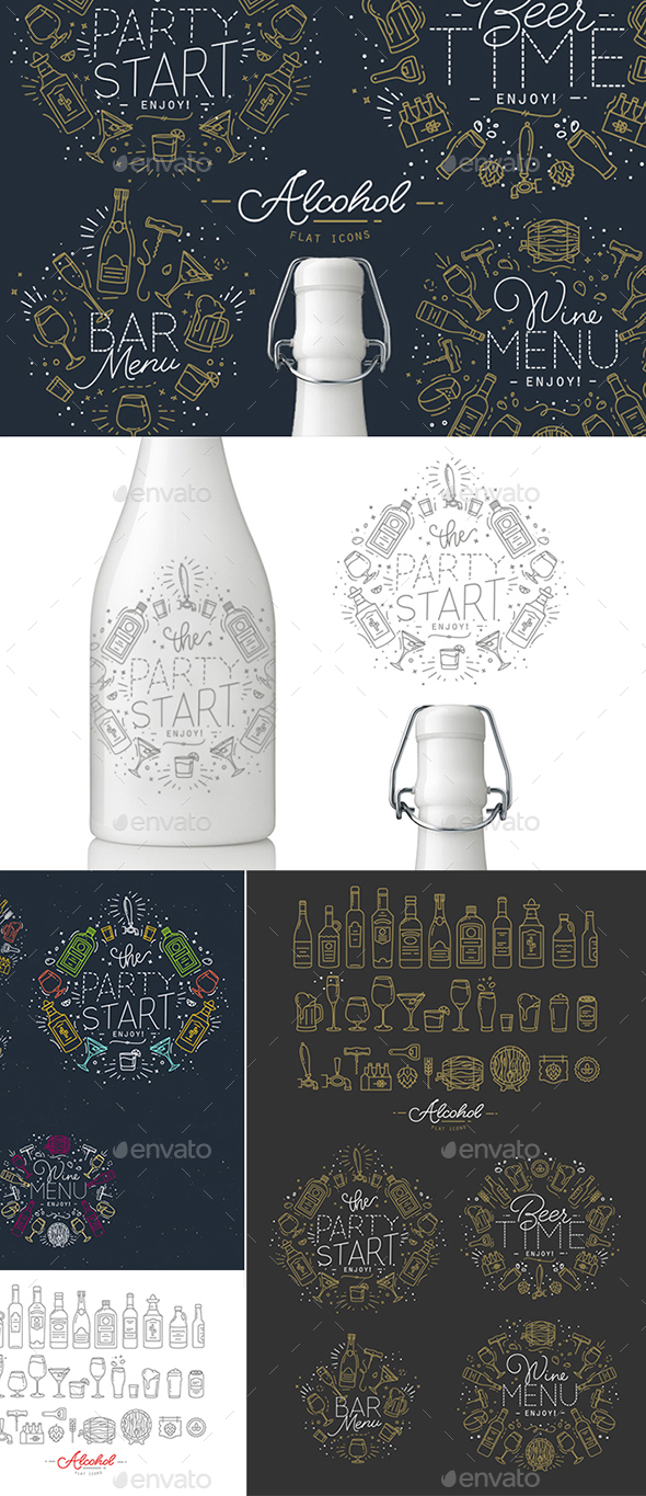 Alcohol Icons And Monograms - Food Objects