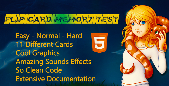 Flip Card Kids Memory Test | Match Pairs HTML5 Memory Game - CodeCanyon Item for Sale