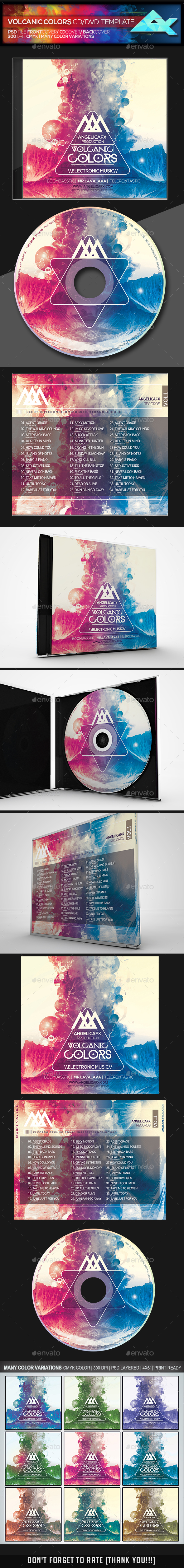 Volcanic Colors CD/DVD Template - CD & DVD Artwork Print Templates