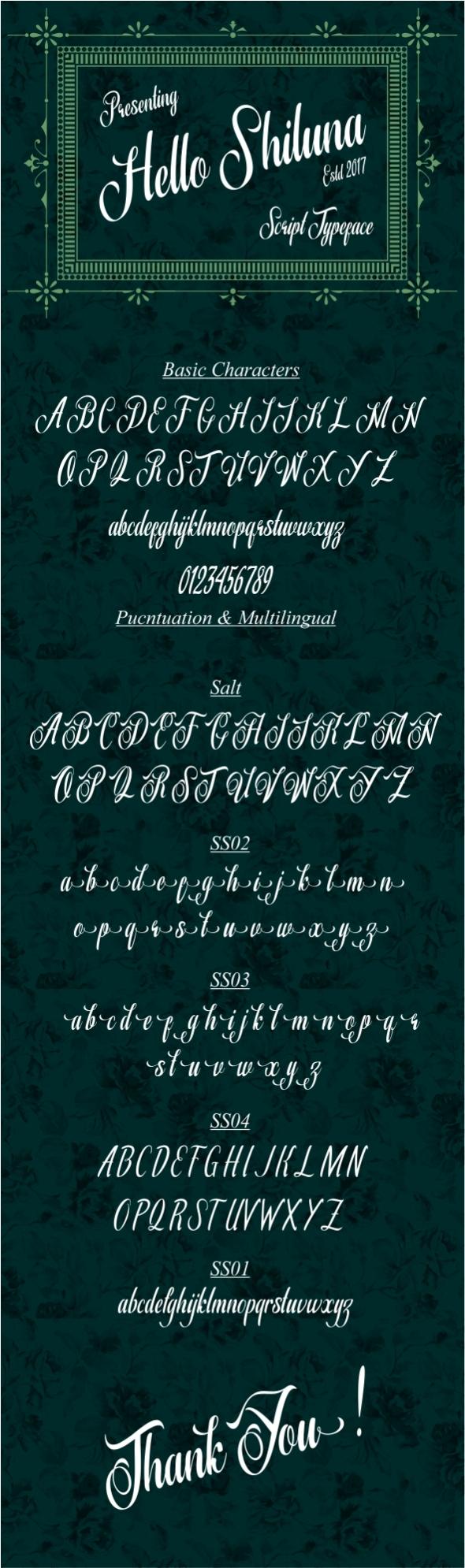 Shiluna - Script Fonts