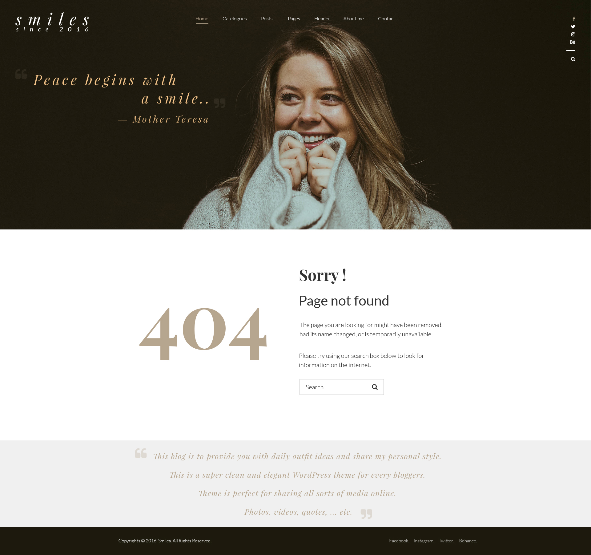 404 Not Found: Smiles - Blog PSD Template By Nithim