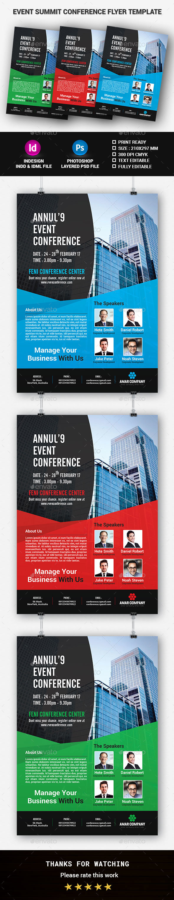 Event Summit Conference Flyer Template - Corporate Flyers