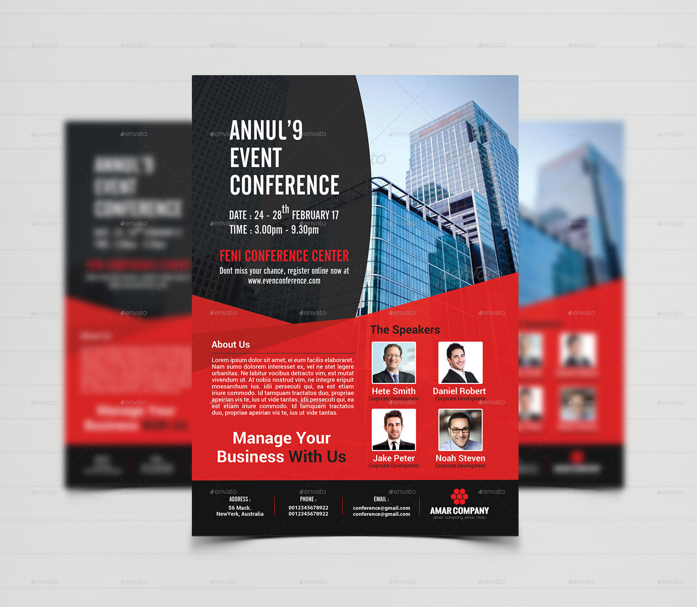 event summit conference flyer template by creative