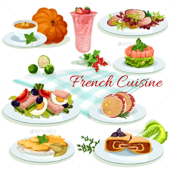 French Cuisine Popular Dishes Poster Design - Food Objects