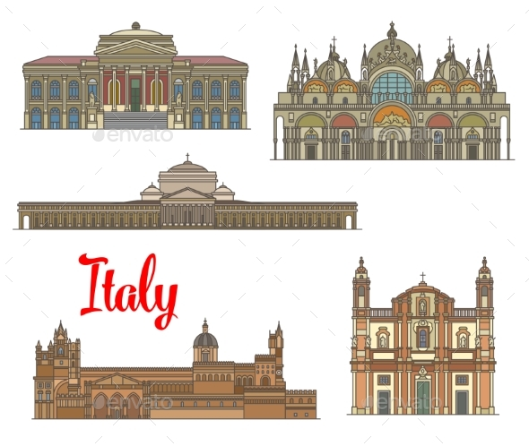 Italian Travel Landmarks of Arts and Religion - Buildings Objects