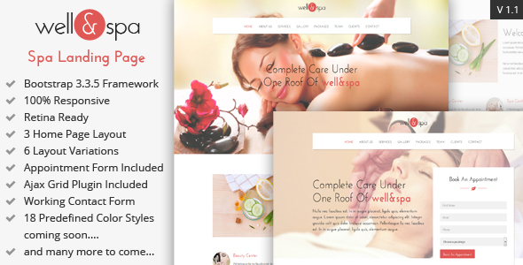 well&spa- Responsive Spa/Beauty Landing Page Template - Marketing Corporate