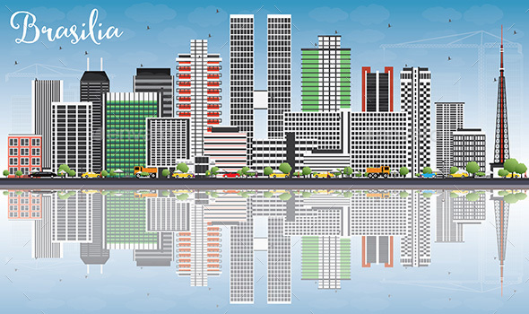 Brasilia Skyline with Gray Buildings, Blue Sky and Reflections. - Buildings Objects