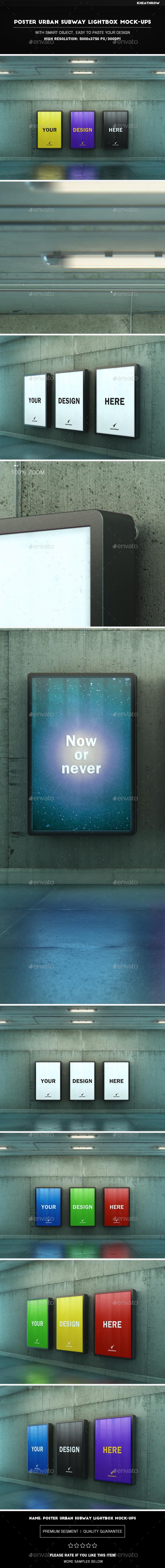 Poster Urban Subway Lightbox Mock-Ups - Posters Print