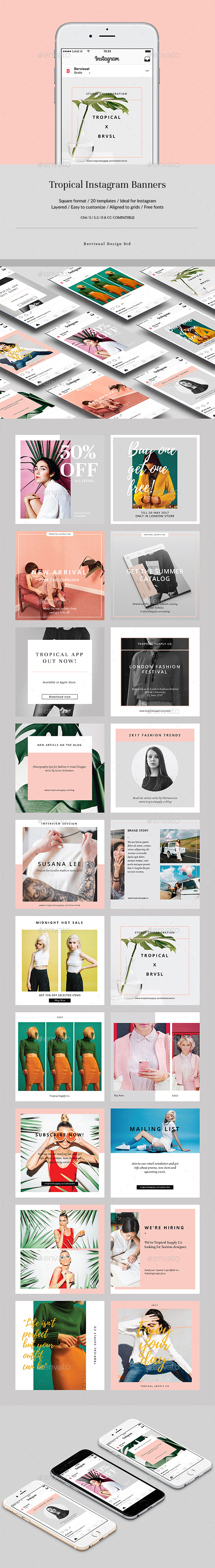 Tropical Instagram Banners - Social Media Web Elements