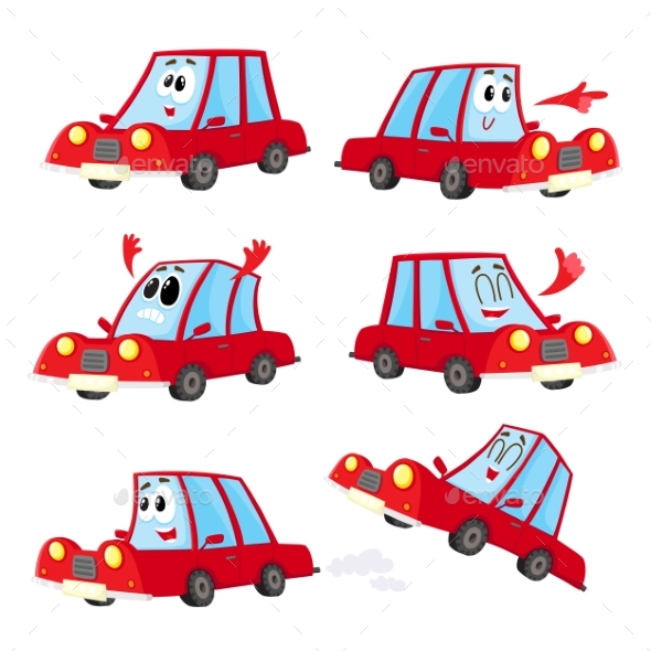 Cute and Funny Red Car, Automobile Character - Travel Conceptual