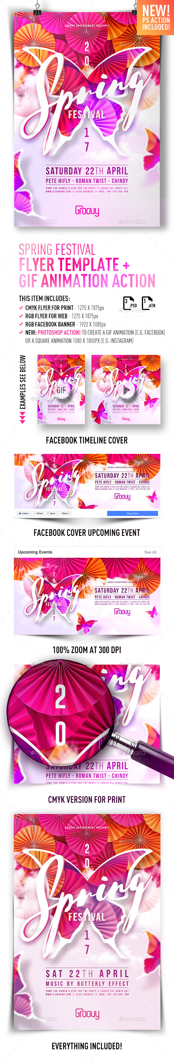 Spring Festival Flyer + GIF Animation Action - Clubs & Parties Events