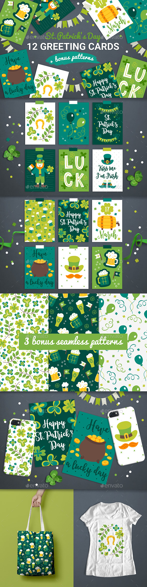 12 Patrick Cards + 3 Seamless Patterns - Miscellaneous Seasons/Holidays