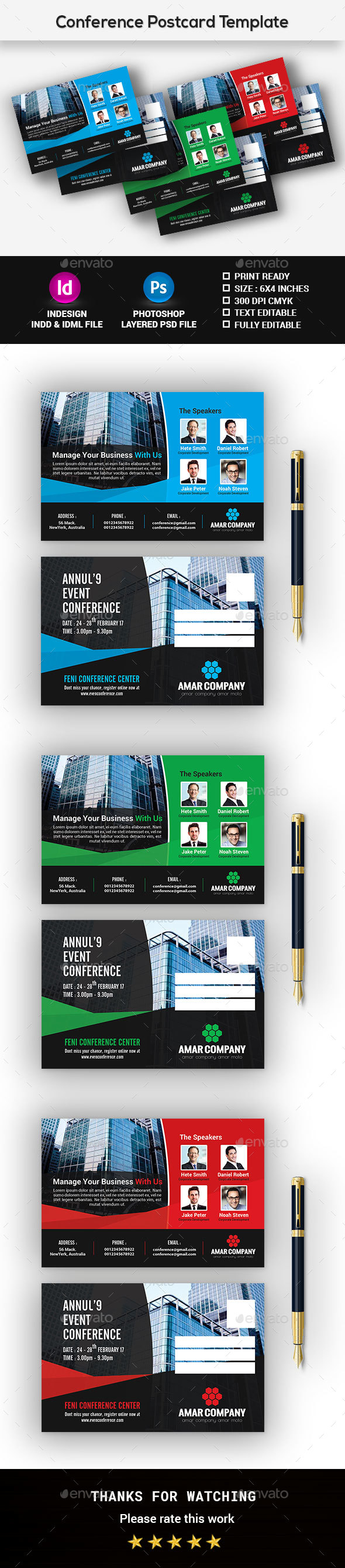 Event Summit Conference Postcard - Cards & Invites Print Templates