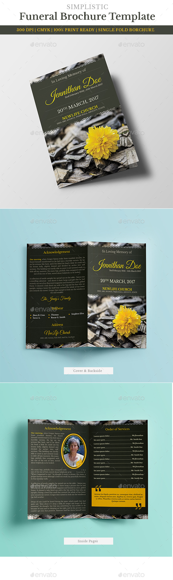 Funeral Program Brochure Template 6 - Miscellaneous Print Templates