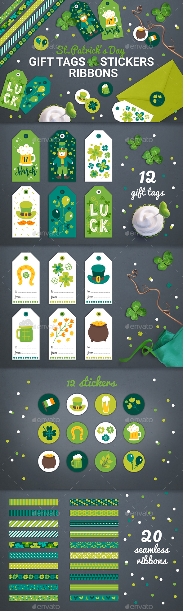 Patrick Gift Tags, Stickers, Tapes - Miscellaneous Seasons/Holidays