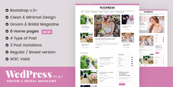 WedPress – Wedding Magazine Responsive Website Template