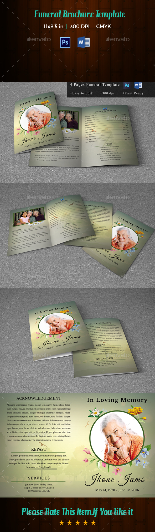 Printable Funeral Program Template-V159 - Informational Brochures