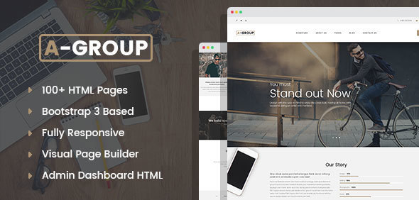 A-Group – Corporate & Business Company HTML template with Visual Page Builder and Dashboard Pages