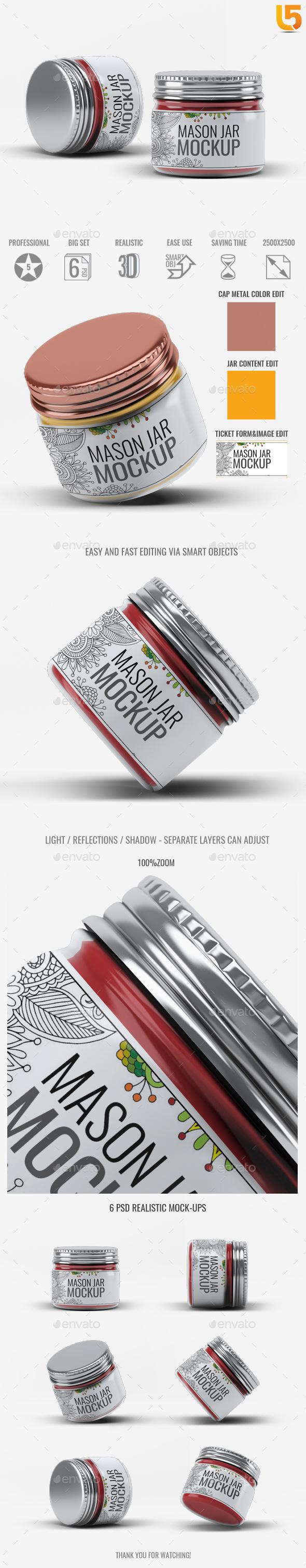 Mason Jar Mock-Up V.3 - Food and Drink Packaging
