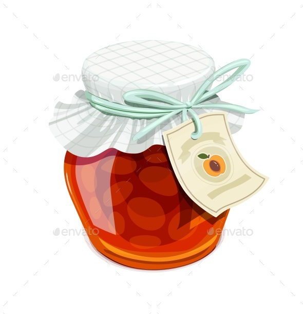 Apricot Jam Jar Vintage Style - Food Objects
