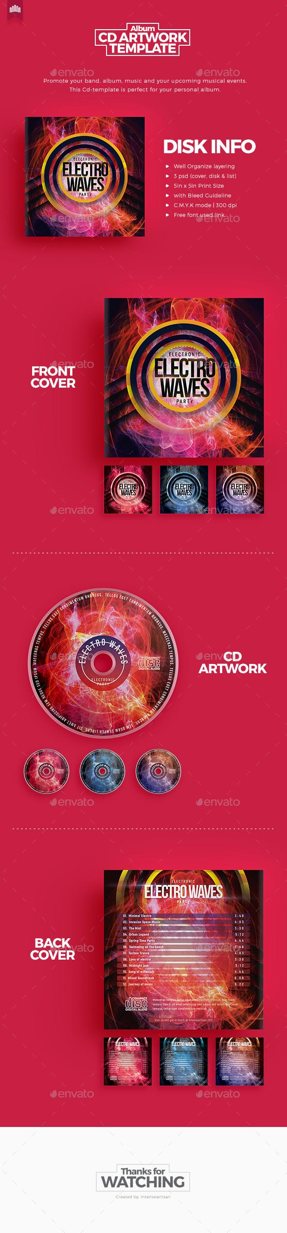 Electro Waves - Cd Artwork - CD & DVD Artwork Print Templates