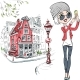 Girl Makes Selfie in Amsterdam - GraphicRiver Item for Sale