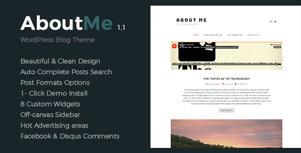 About Me - Creative & Clean WordPress Theme - Personal Blog / Magazine