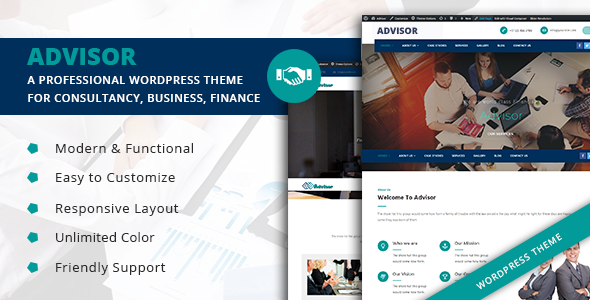 Advisor  – A Professional WordPress Theme for Consultancy, Business, Finance