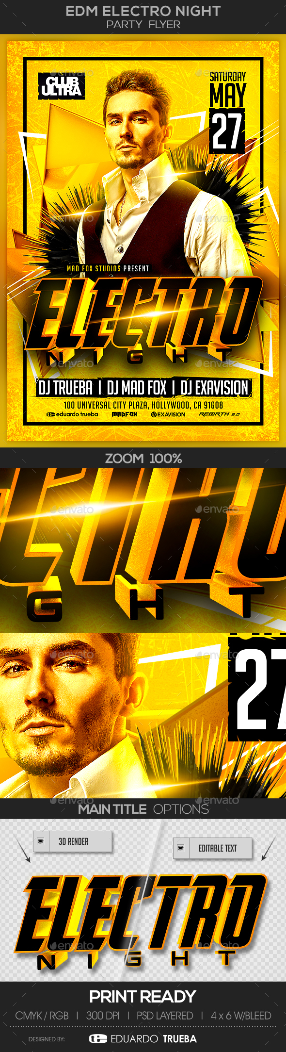 EDM Electro Night Party Flyer - Clubs & Parties Events